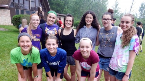 group of girls down by the chapel at Camp Friedenswald