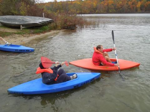 Kayaking at Men's Retreat at Camp Friedenswald