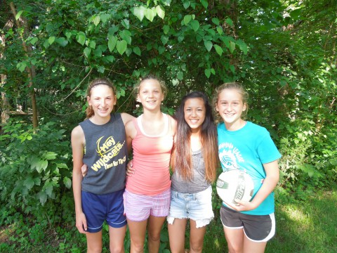 Girls posing at Junior Retreat at Camp Friedenswald