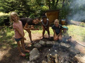 Girls campfire at Camp Friedenswald