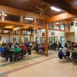Bif view of people dining in Main Dining hall at Camp Fried3enswald