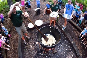 Aerial view of Popcorn campfire at Camp Friedenswald