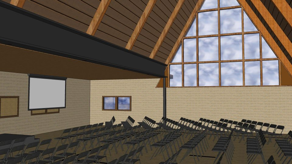 Inside chapel/activity center at Camp Friedenswald after renovations