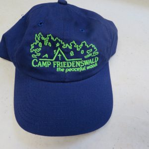 Camp Friedenswald baseball hat in blue with green logo.