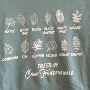 Trees of Camp Friedenswald t-shirt in olive.