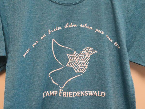 Camp Friedenswald peace t-shirt in aqua.