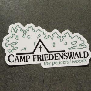 Camp Friedenswald sticker in white with logo.