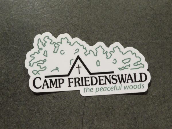 Camp Friedenswald sticker in white with logo.